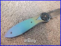 Randall Gilbreath Custom Handmade Tulip Folding Knife With Damascus Blade
