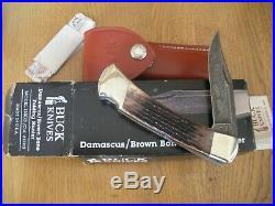 Rare 1990 Buck 110 Damascus Brown Bone Folding Hunter Knife Never Used In Box