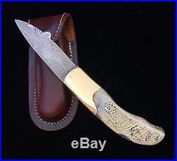 Rare Custom Damascus Lockback Pocket Knife Exotic Fossilized Turtle Bone Handles