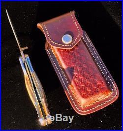 Rare Custom Damascus Russlock Pocket Knife Exotic Fossilized Turtle Bone Handles