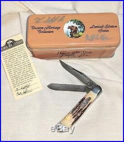 Rare Custom USA Bear & Son Damascus 2 Blade Folding Knife, Signed 29/50