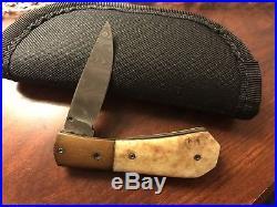 Rare Pratt Knives Custom Damascus Mastedon Folding Knife
