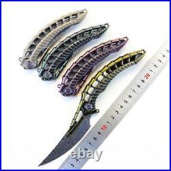 Rare Rike Custom Damascus Folding Karambit Knife Titanium alloy limited edition
