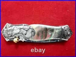 Rare Suchat Jangtanog Custom Dagger Folding Knife Mosaic Damascus Steel Engraved