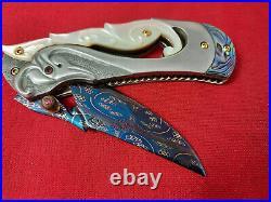 Rare Suchat Jangtanog Custom Folding Knife Mosaic Damascus Steel Pearl Abalone