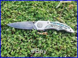 Rare Suchat Jangtanong Custom Folding Knife Alabama Damascus Steel Abalone Rc#06