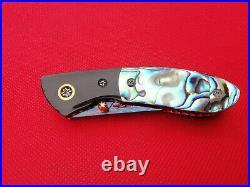 Rare Suchat Jangtanong Custom Folding Knife Damascus Steel Abalone Horn Rc#06