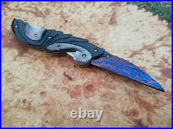 Rare Suchat Jangtanong Custom Folding Knife Damascus Steel Pearl Buffalo Horn