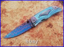 Rare Suchat Jangtanong Custom Folding Knife Damascus Steel Titanium Pearl Arts