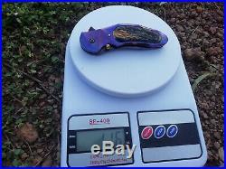 Rare Suchat Jangtanong Custom Folding Knife Damascus Steel Titanium Woods Rc#04
