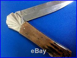 Rare Unique Ken Steigerwalt Folding Knife Damascus Steel Blade