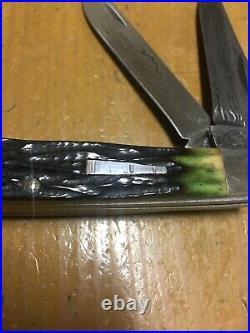 Rare-remington Usa-green Bone Damascus Transition Trapper Folding Bullet Knife