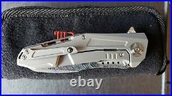 Reate Knives K3 Framelock Damascus Steel CF Titanium Folding Blade Knife