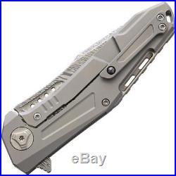 Reate Knives K3 Framelock Damascus Steel CF Titanium Folding Blade Knife K3DPDCF