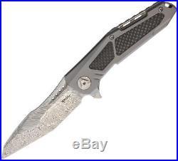 Reate Knives K3 Framelock Damascus Steel CF Titanium Folding Blade Knife K3TDCF