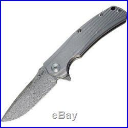 Reate Knives REA09 Gray Titanium Mini Horizon Damascus Folding Pocket Knife