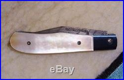 Reese Weiland Prototype Custom Signed Mother of Pearl Damascus Folding Knife