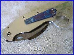 Reese weiland XL trigger karambit blued damascus manual assist folding knife