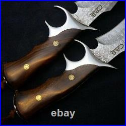 Repeatedly Folded Forged Knife VG10 Damascus Steel Fixed Blade Custom Made Nife