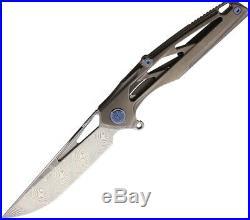 Rike Knight Framelock Folding Knife 4 Damascus Steel Blade Titanium Handle
