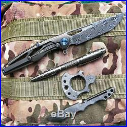 Rike Knight Gray 3.93 Damascus Titanium Handle Frame Lock Pocket Folding Knife