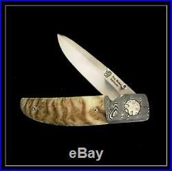 Roy Helton Knife Sheep Horn Linerlock Folder Rare Damascus