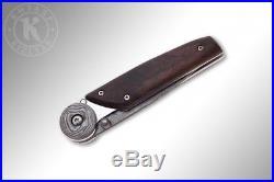 Russian Folding knife Biker-2 Kizlyar knives (Damascus steel, hornbeam handle)