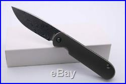 SMKE Knives Shamwari Front Flipper Folding Knife 3.5Damascus Blade Sand Blast