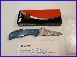 SPYDERCO Damascus Stretch Blue Nishijin Folding Knife (C90GFBLPD)