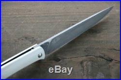 Saji R2 Black Damascus Folding Steak Knife 100mm with White Micarta handle