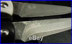 Saji Takeshi Folding steak knife R2 damascus Black or White Handmade