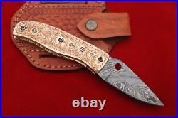 Sale Custom Engraved Steel Rose Gold Steel Folding Knife Damascus Steel 8 Knife