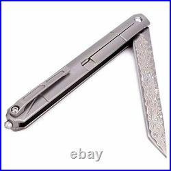 Samior GDT035 Small Slim Folding Pocket Flipper Knife, 3.5 inch VG10 Damascus Ta