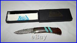 Santa Fe Stoneworks Wood & Turquoise Inlay Raindrop Damascus Folding Knife NEW