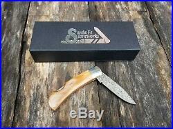 Santa Fe Stoneworks perfect turquoise vein Damascus steel folding knife USA made