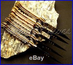 Set of Five Knives Hand Made Damascus Steel Pocket Knife, Folding Knife Ram Horn