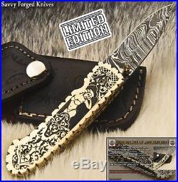 Sfk Cutlery Hand Made Damascus Pocket Folding Knife Liner Lock Fo-2007