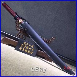 Sharpen Stick Sword Katana Hunting Knife blue Folded Damascus 4blood groove Blad