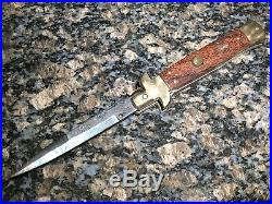Sons Of Sicily Damascus Folding Knife Heat Colored Blade Brass And Wood ITALY