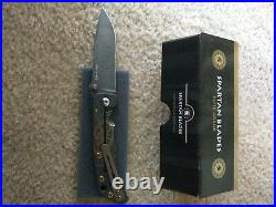 Spartan Damascus Harsey Custom Folding Knife, Bronze Compass Engraving