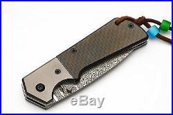 Special Custom Handmade Damascus Folding Knife and Carbon Fiber handle