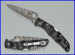 Spyderco C10zpgyd Endura Black Gray Zome Damascus Steel Folding Knife. Limited