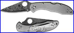 Spyderco C11tipd Delica Titanium Damascus Plain Edge Folding Knife