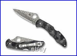 Spyderco Delica 4 Folding Knife GRY/BLK Zome Handle Damascus Plain Edge C11ZPGYD