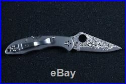Spyderco Delica 4 Titanium / Damascus Folding Knife C11TIPD Plain Edge VG-10