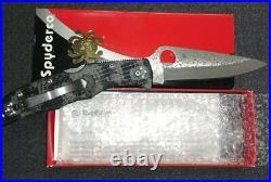 Spyderco Endura 4 Folding Knife GRY/BLK Zome Handle Damascus Plain Edge C10ZPGYD