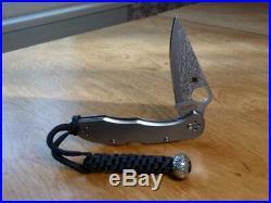 Spydero C11TIPD Titanium Handle Delica 4 Straight VG-10 Damascus Folding Knife