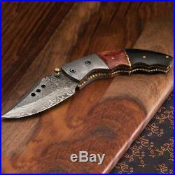 Stauer Damascus Curva Folding Knife With Buffalo Horn and Colored Bone Handle