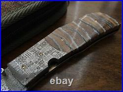 Steve Hostetler Custom Folding Knife Damascus Blade Mammoth Handle