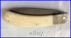 Steve Schwarzer Folding knife, damascus blade & bolsters Fossil Handle